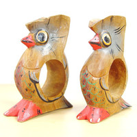 1970s Owl Linen Napkin Rings - Set of 2 - Wooden Love Birds - Hand Carved - Hand Painted