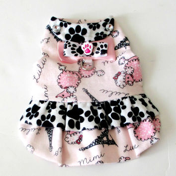 Flannel Small Dog Harness Paw and Parisian Poodle Print (Ooh La La!) Black, White and Pink Customize to Fit Little Dog