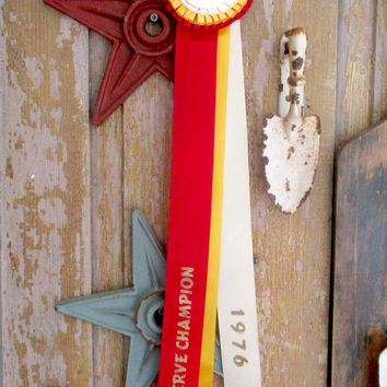 Vintage HORSE SHOW RIBBON Rosette 1979 Thorncroft Horse Show Red Ribbon Reserve Champion Malvern Penna.