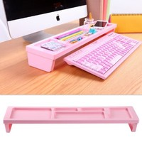 KOSOX® Board Desktop Organizer Rack Office Supply Holder/ Office Computer Desk Supply Caddy Tray/ Anti Dust Shelf Over Keyboard (For Papers, Pens, Phones, Snacks), Pink