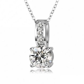 LZESHINE Fashion Costume Jewelry Small Size Classic AAA+ Cubic Zirconia Crystal Pendant Necklace Collares Mujer CNL0019