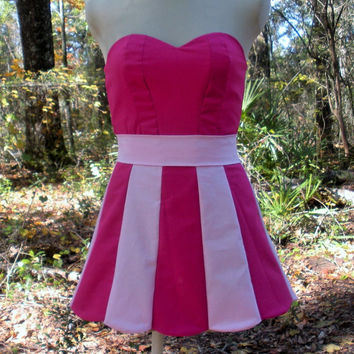 Strapless Scalloped Mini Dress in Pinkie Pie My Little Pony Colors - MLP Pinkie Pie Cosplay Dress
