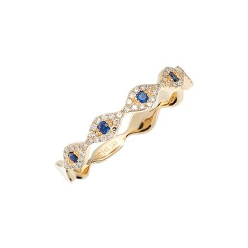 EF COLLECTION Evil Eye Diamond & Sapphire Stack Ring | Nordstrom