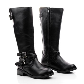BioIIS Black Pu By Happy Soda, Children Girls Knee High Zip Up Riding Boots