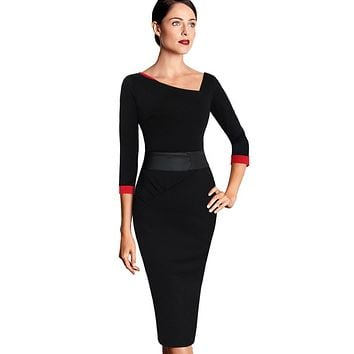Vfemage Womens Asymmetric Neck Ruched Vintage Elegant Contrast Tunic Wear to Work Business Party Fitted Sheath Casual Dress 1908