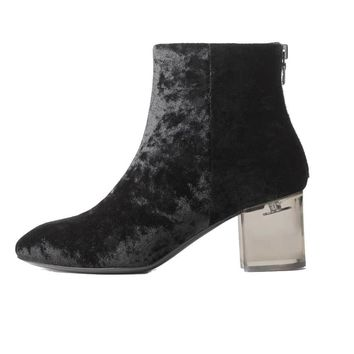 Rag & Bone Drea Black Velvet Ankle High Boot