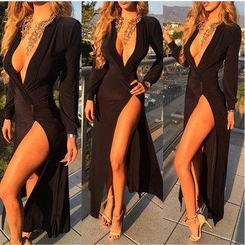 Black Long Sleeve Deep V-Neck Wrap Ruched Front Slit Maxi Dress