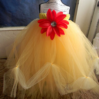 Beauty and the Beast Tutu Dress-Baby Tutu Dress-Toddler Yellow Tutu Dress-Tulle Tutu Dress Red Tutu Dress-Tutu-Flower Girl Dress-Photo Prop