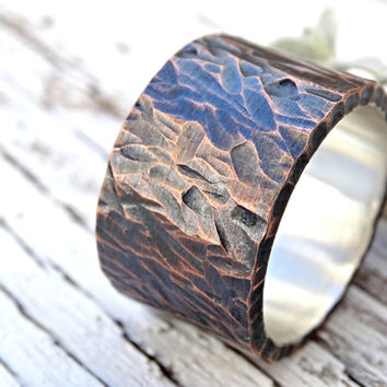 bold mens wedding band, wide mens ring copper silver, mens wedding band rustic, cool mens ring unique, personalized mens ring mixed metal,
