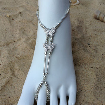 Silver Barefoot Sandal with Butterflies, Foot Jewerly, Beach Wedding