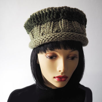 Green hat - Ready to ship - Fashion knit hat - Olive green crocheted hat - Roll brim knit cloche - Womans chunky knit hat - Warm winter hat
