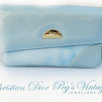 Christian Dior Clutch / Parfums, Make-up bag, Christian Dior Signed Blue Color Vinyl  Cosmetics, Toiletries Bag