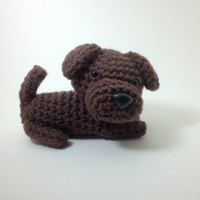 SALE / Labrador Retriever Chocolate Lab Dog Amigurumi Dog Crochet Dog Stuffed Animal Doll / Made to Order