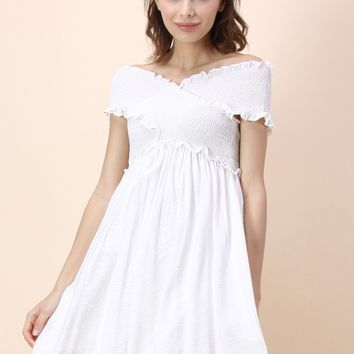 Cross and Wrap Off-shoulder Dress in White