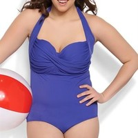 Plus Size Royal Blue Halter One Piece Swimsuit with Twist Front