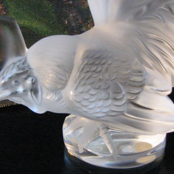 R Lalique France Crystal Frosted Rooster Signed Labeled