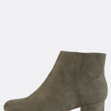 Faux Suede Almond Toe Ankle Boots OLIVE | MakeMeChic.COM