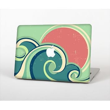 The Vector Retro Green Waves Skin Set for the Apple MacBook Pro 13""