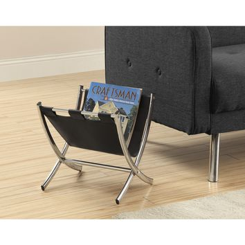 Black Leatherette & Chrome Metal Magazine Rack