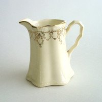 Vintage Porcelain Pitcher, Cream Ceramic Pitcher or Creamer with Gold Painted Trim, Off White Pitcher, Shabby Cottage Chic, Home Decor