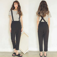 Black Cross Strappy Cropped Overalls
