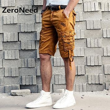 New Cargo Shorts Mens 2017 Summer Casual Cotton Leisure Outdoors Brand Shorts Men Style Solid Color Shorts Men Cotton Loose 130