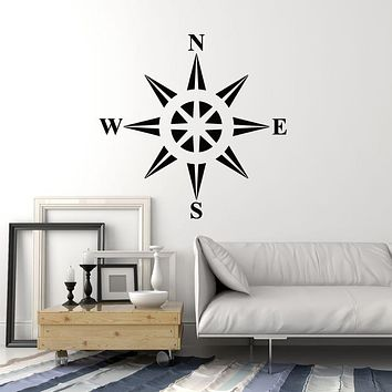 Vinyl Wall Decal Compass Earth Water Side of World Nautical Stickers Mural (g790)