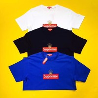 """""""Supreme × Rolex"""" Unisex Casual Simple Letter Crown Embroidery Box Logo Short Sleeve Couple T-shirt Top Tee"""