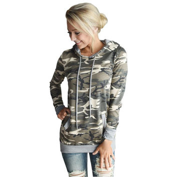 Womens Blouse Camouflage Printing Pocket Hoodie Long Sleeve Hooded Pullover Tops Femme Blouses #LSIW