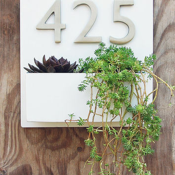"""12"""" x 12"""" Modern White Lacquer Wall Planter with (3) Brushed Aluminum Address Numbers, Address Plaque with Planter - Free Shipping"""