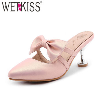 New Arrival Sweet Butterfly-knot Mules Party Wedding Women's Shoes 2017 Special High Spool Heels Footwear Plus Size 32-47