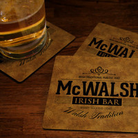 Personalized Irish Bar Coasters - Family Name Beer Coaster Set Tradition Custom Fabric Or Hard Cork Coaster