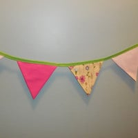 Pretty Pink and Yellow Floral Bunting Fabric Garland For Decoration Or Room Decor