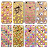 Cute Fruit and Emoji Painted Fashion Silicone Soft Transparent Phone Case