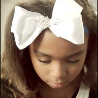 """White Satin Headband For Baby Girl Toddler Girls and Little Girls, """"Sweet Sparkle"""" , Photo Prop"""