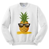 White Crewneck - Pineapple Man - Sweatshirt Sweater Jumper Pullover Beach Spring Summer Outfit Fruit