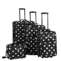 Rockland Luggage Set 4PC Rolling Softcase Expandable Black White Polka Dots