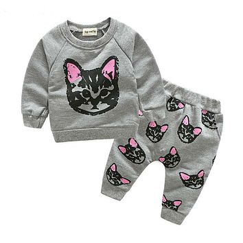 New Fashion spring autumn Children Outfits Tracksuit Girls Clothing Sets Long Sleeve Top+Pants Sport Suit kids Clothes suit