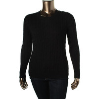 Charter Club Womens Cable Knit Crew Neck Pullover Sweater