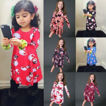 CREYWQA Christmas Dress 2016 New Women Children Girls Dresses Autumn Winter Holiday Gift New Year Cute Lovely Clothing High Quality