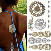 27 designs Waterproof Temporary tattoo Sticker mandala metallic gold golden tatto stickers flash tatoo fake tattoos for women