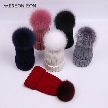2017 ladies hat fashion casual knit hat winter 15CM true raccoon hair ball a variety of colors with cap warm ladies