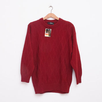 oversized sweater 90s NOS vintage burgundy oversized sweater