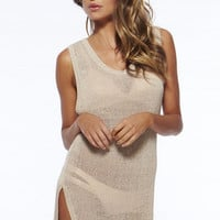 Apricot Sleeveless Keyhole Cut-out  Knitted Beach Cover Up