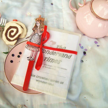 Handmade Alice in Wonderland Party Favors - Set of 15 Zines and Stick Puppets