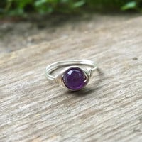 Amethyst ring, silver wire ring, wire ring, gemstone ring, handmade ring, Amethyst jewelry, healing stone ring, natural stone ring, Chakra