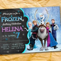 Disney Frozen Elsa Olaf Anna Chalkboard  Frozen the beautiful personalized birthday invitation card as a digital file