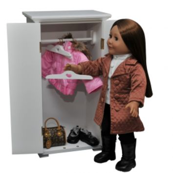 White Wardrobe, Furniture Fits 18 Inch Dolls