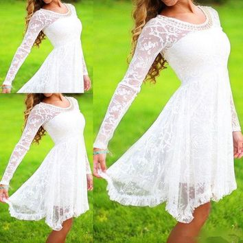 ONETOW New fashion elegant Women white Party Dresses Long sleeves Jacquard  dress   Bridesmaid Wedding