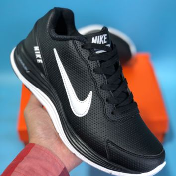 KUYOU N631 Nike Lunarglide 4 Leather Sport Casual Sneaker Black White